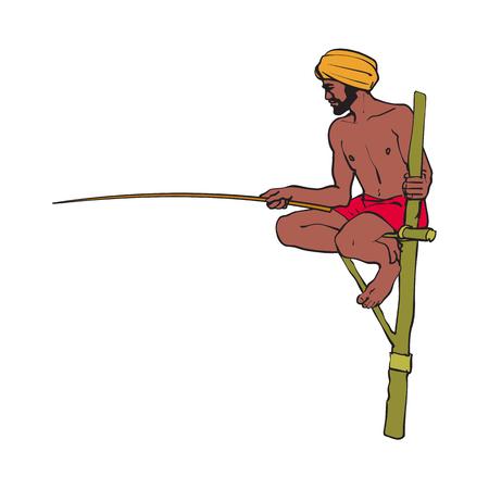 벡터 스케치 나무 짚 기둥에 앉아 나무 막대기로 handscarf pagri 또는 터 번에 만화 로컬 인도 사람 (남자). 전통적으로 옷을 입은 남성 캐릭터, 손으로 그