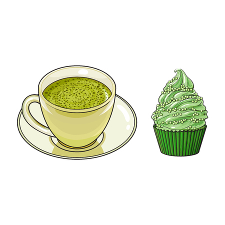vector sketch cartoon hand drawn cup of whipped green mathca tea on a plate, cupcake sweets side view. Isolated illustration on a white background. Traditional tea ceremony attribute, symbol Illustration
