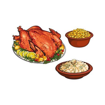 Intero tacchino arrosto, purè di patate e ciotola di mais, cibo cena del Ringraziamento, illustrazione vettoriale schizzo isolato su sfondo bianco. Tacchino arrosto disegnato a mano, purè di patate e mais dolce