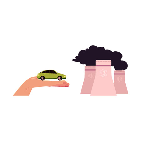vector flat cartoon style cooling towers of nuclear plant, factory with black smoke, green electric car in opened palm of hand set. Isolated illustration on a white background.