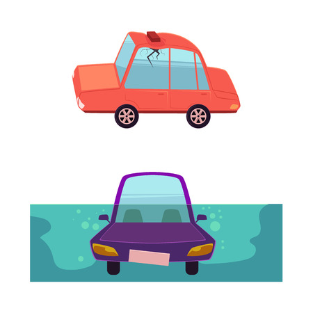 vector flat cartoon car accident set. stylized drowing car. Automobile with brick fallen to its roof, dented it and made crack in side window. Isolated illustration on a white background. Ilustração