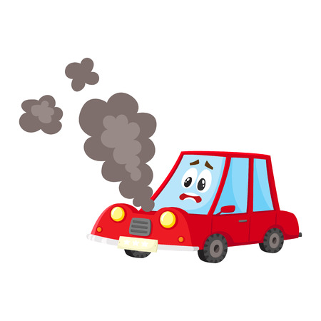 vector flat cartoon broken red car character with eyes, emotions and face with black smoke coming from hood. Isolated illustration on a white background. Road safety concept