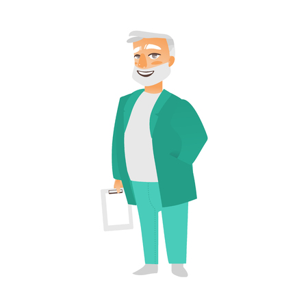 vector flat cartoon adult male grey-haired doctor, head physician in green medical clothing holding clipboard with blank paper smiling. Isolated illustration on a white background. Ilustração
