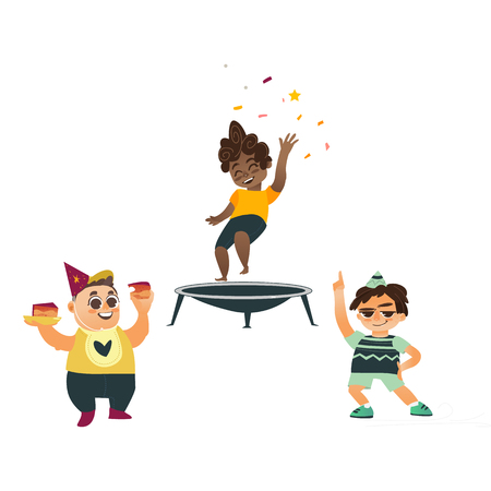 vector flat cartoon kids at party set. Black boy jumping on trampoline happily , another boys eat sweet cake and dancing in party hat smiling . Isolated illustration on a white background.