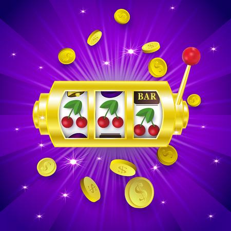 Casinobanner, afficheontwerp met gokautomaat die een winnende combinatie met drie kersentekens, vectorillustratie tonen. Jackpot gokautomaat, winnende combinatie, drie kersentekens, bannerontwerp