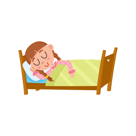lying in bed: vector flat cartoon girl kid sleeping in her bed under warm blanket. Isolated illustration on a white background. Happy child character, daily routine concept.