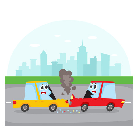 Accident de la route, collision frontale dans la rue avec des personnages de voiture, illustration vectorielle de côté vue cartoon. Deux personnages de voitures de bande dessinée à visage humain ont un accident de la route et une collision dans la rue Banque d'images - 85691812