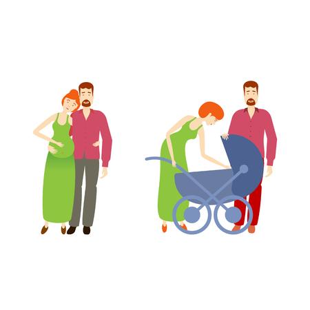 Vektor-flache Cartoon Erwachsene schwangere Paar und ein weiteres Paar mit Kleinkind Baby im Kinderwagen. Isolierte Darstellung auf einem weißen Hintergrund. Flache Familienzeichen. Standard-Bild - 85691817
