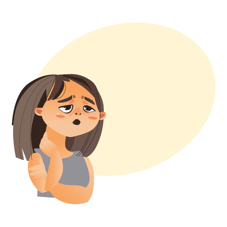 Woman feeling fatigue, cartoon vector illustration isolated on white background with speech bubble