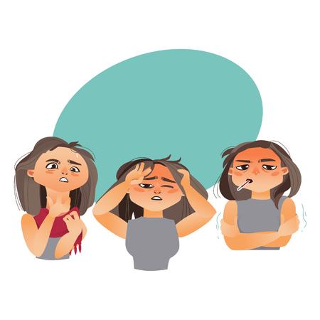 インフルエンザの症状を持つ女性-発熱、喉の痛み、頭痛、漫画のベクトルイラストは、吹き出しと白の背景に孤立