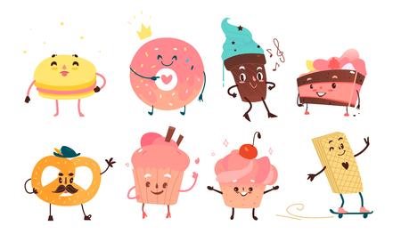 面白いデザートの文字のセット-ドーナツ、カップケーキ、ケーキ、アイスクリーム、プレッツェル、マカロン、漫画のフラットスタイルのベクトル