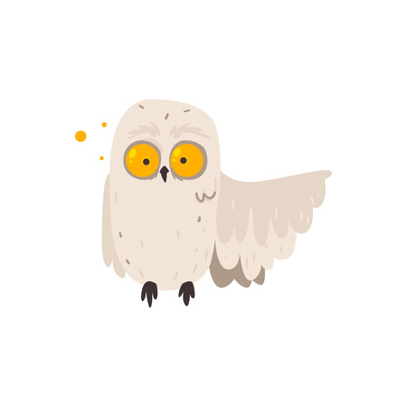 Funny, crazy looking owl with big round yellow eyes pointing with its wing, cartoon vector illustration isolated on white background. Cartoon owl with crazy round eyes and one wing pointing