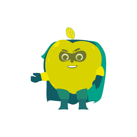 Funny apple fruit hero, superhero character, guard, defendor, flat style cartoon vector illustrations isolated on white background. Apple fruit hero, superhero character in mask and cape