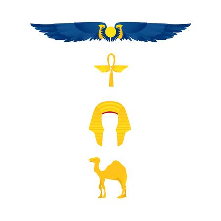 이집트 기호 - 날개 달린 된 태양, ankh, nemes 집합 머리 장식, 낙 타, 플랫 만화 벡터 일러스트 레이 션 흰색 배경에 고립. 이집트 기호 - 날개 달린 된 태