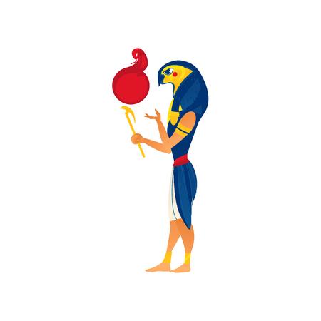 Ra, 고 대 이집트 종교, 흰색 배경에 고립 된 플랫 만화 벡터 일러스트에서 정오 생활의 하나님. 라, 팔콘, 매가 머리, 평면 측면 전체 길이 초상화와 고
