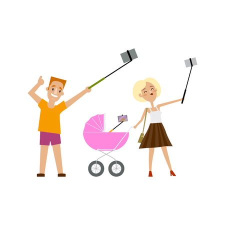 smartphone: Young father, mother and newborn baby in pram all making selfie with phone and monopod, cartoon vector illustration isolated on white background. Family, man and woman and baby in pram make selfie