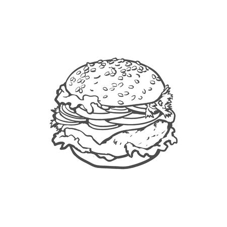De vector geïsoleerde illustratie van de hamburgerschets hand op een witte achtergrond. Lekkere verse fastfood chickenburger, cheesburger met groenten. Sandwichhamburger met uisla tomatenkaas en saus