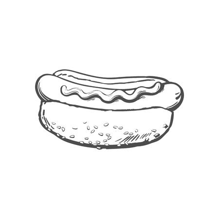 벡터 스케치 소시지 핫도그 겨자 소스와 함께입니다. 패스트 푸드 손으로 그린 만화 격리 된 그림 흰색 배경에. 소스와 샐러드와 신선한 샌드위치