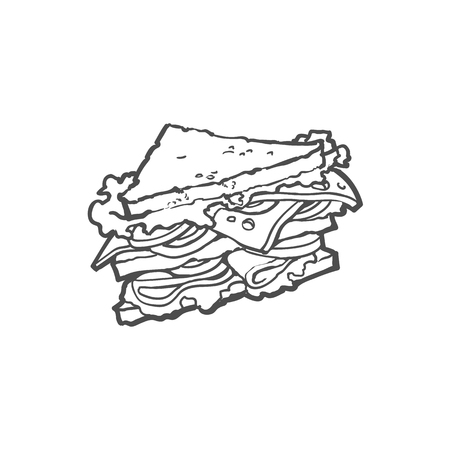 Vector boceto sándwich con verduras. Ilustración de dibujos animados planos de comida rápida aislado en un fondo blanco. Sándwich fresco triangular con queso, tomate y ensalada Foto de archivo - 85691850