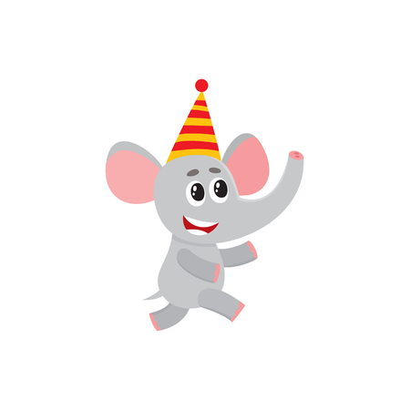 vector flat cartoon cheerful elephant kid character having fun running wearing party hat happily smiling. isolated illustration on a white background. Animals party concept Illustration