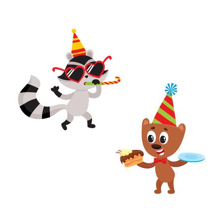Vector personaje de dibujos animados alegres animales plana felizmente sonriente en el conjunto sombrero paty. oso pardo comiendo pedazo de pastel, mapache se divierte silbido. Ilustración aislada en un fondo blanco. Foto de archivo - 85760722