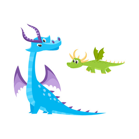 vector flat cartoon funny blue, marine adult, mature with horns and wings sitting and green kid dragon set. Isolated illustration on a white background. Fairy cute creature character for your design