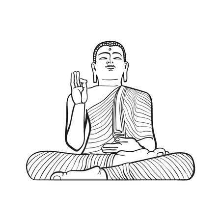 ベクターは、漫画の東部、東洋の女神像ロータス姿勢仏に座っているをスケッチします。白い背景に分離の図。手描きのスリランカのシンボル