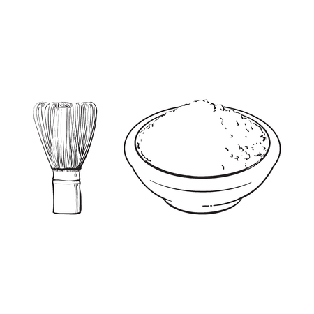 Black and white contour drawing, vector sketch cartoon hand drawn ceramic bowl of mathca tea powder and bamboo whisk top view set. Isolated illustration on a white background. Traditional tea ceremony
