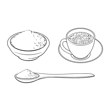 Black and white contour drawing, vector sketch cartoon hand drawn ceramic bowl of mathca tea powder, bamboo spoon and cup of tea set. Isolated illustration on a white background.