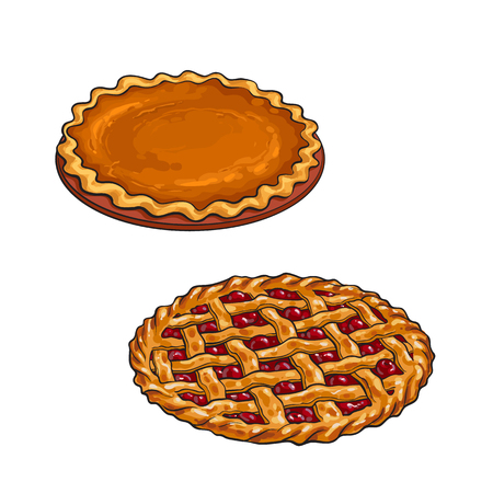 손으로 그린 체리와 호박 파이, 전통적인 추수 감사절 디저트, 흰색 배경에 고립 된 벡터 일러스트 레이 션을 스케치합니다. 추수 감사절 저녁 식사를