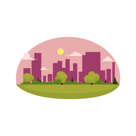 vector flat cartoon green city concept. Isolated illustration on a white background. city without plants and factories, sustainable development. The place with a lot of green trees, grass, clear sky