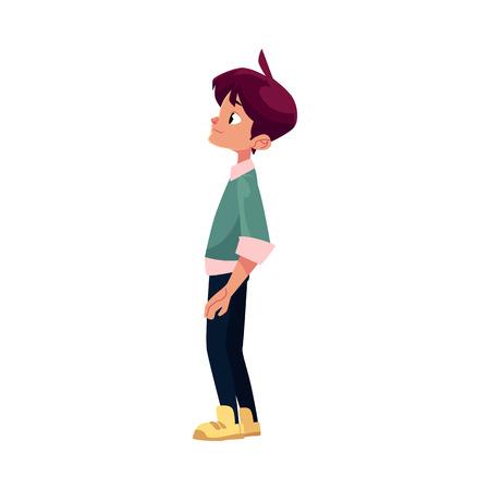 벡터 플랫 만화 십 대 소년, 남성 문자가 신중 하 게 뭔가 찾고 의미합니다. 흰색 배경에 플랫 격리 된 그림입니다. 다시 학교 개념