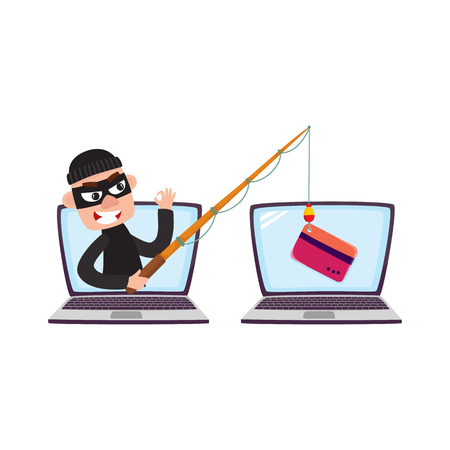Hacker in black mask stealing credit card details with fishing rod, phishing attack concept, cartoon vector illustration isolated on white background. Cartoon computer hacker, phishing attack