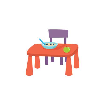 vector platte cartoon baby tafel en stoel voor het hebben van ontbijt, diner - eten met pap plaat en groene appel op. geïsoleerde illustratie op een witte achtergrond. Dagelijkse routineconcept