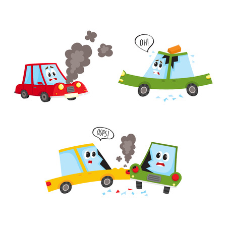 vector flat accident set. Brich fallen to autos roof, red vehicle with face and emotions broken, smoke going from hood, yellow car crashed into green from side. Isolated illustration
