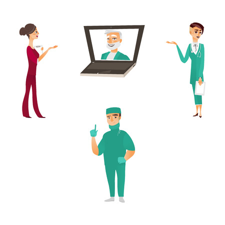vector flat cartoon adult male, female doctors, head physician in laptop, nurse in medical clothing holding clipboard, stethoscope smiling, set. Isolated illustration on a white background.