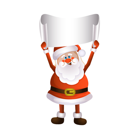 vector cartoon Santa Claus standing in red white clothing and hat keeping blank white paper with free space for a text. Illustration isolated on a white background. Christmas ,new year poster design