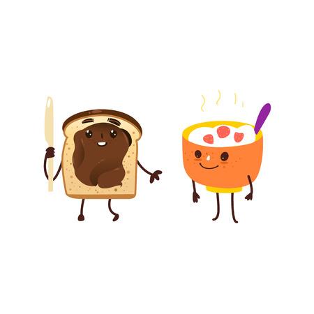 Caractères du petit déjeuner drôle - bol de flocons d'avoine et de pain grillé avec du chocolat à tartiner, illustration de vecteur de dessin animé isolé sur fond blanc. Bol drôle d'avoine, de riz et de pain grillé avec des caractères au chocolat Banque d'images - 85760753