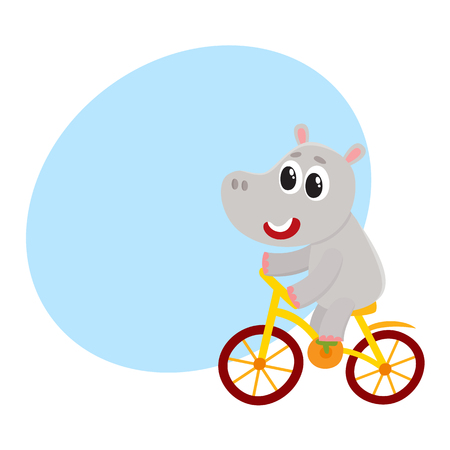 Cute little hippo character riding bicycle, cycling, cartoon vector illustration with space for text. Little baby hippo, hippopotamus animal character riding bike, bicycle, cycling happily