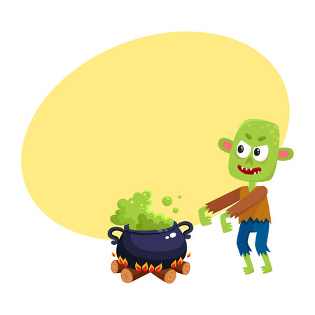 Scary green zombie monster and Halloween caldron with boiling potion, cartoon vector illustration with space for text. Halloween monster, zombie and caldron with potion boiling on fire