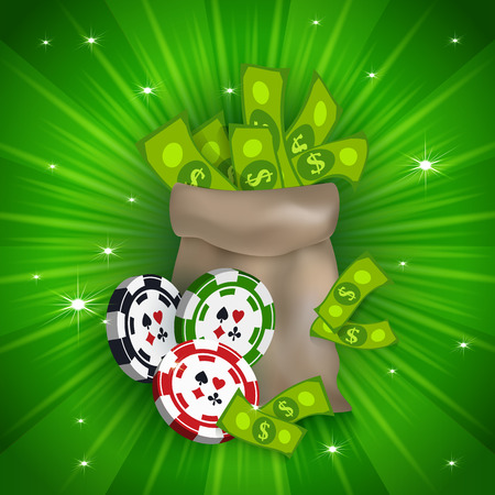 Casino banner, poster design with money bag and gambling chips, tokens, falling dollars, vector illustration. Casino, gambling chips tokens money bag and and dollars, banner, poster, postcard design Çizim