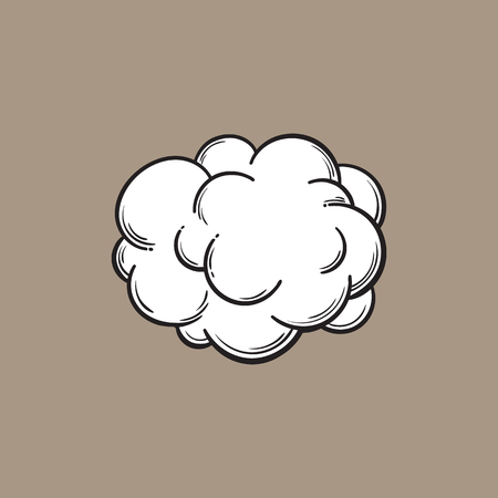 Hand drawn fog, smoke cloud, black and white comic style sketch vector illustration isolated on color background. Hand drawing of smoke, cloud, haze, comic style design element Vettoriali