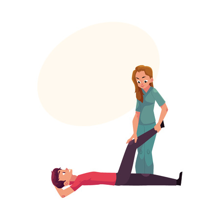 Medical rehabilitation, treatment by exercise, movement therapy for disabled patient, cartoon vector illustration with space for text. Medical rehabilitation, physical therapy, remedial gymnastics Çizim