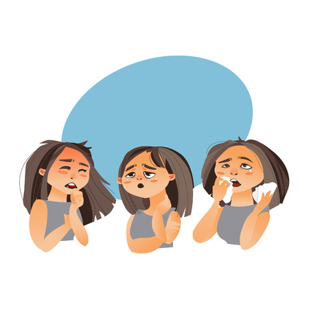 Vrouw die griepsymptomen - moeheid, lopende neus, hoest, beeldverhaal vectordieillustratie op witte achtergrond met toespraakbel wordt geïsoleerd