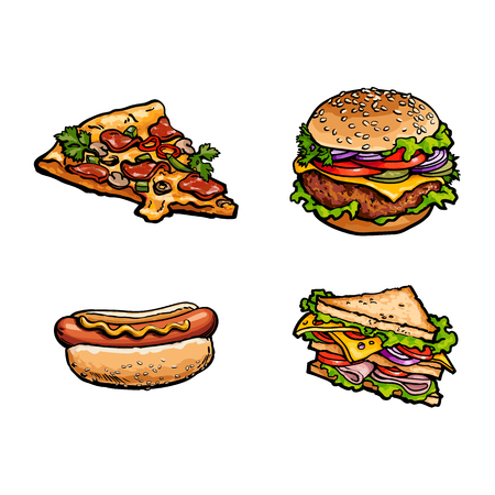 toasted: Vector sketch fresh sandwich, burger sausage hot dog, cheese and pepperoni pizza slice set. Fast food cartoon isolated illustration on a white background. Illustration