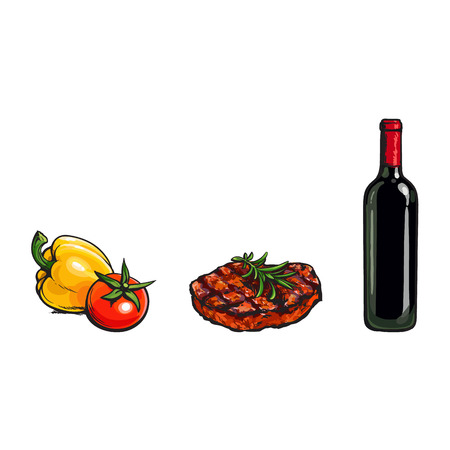 Perfect dinner components - beef steak, vegetables and red wine bottle, sketch vector illustration on white background. Realistic hand drawing of grilled, roaster beef steak, vegetables and red wine Stock Vector - 85862986
