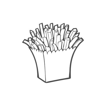 벡터 스케치 감자 튀김, 스트라이프 흰 종이 상자에 감자 튀김. 손으로 그린 만화 격리 된 그림 흰색 배경에. 맛있는 패스트 푸드 일러스트