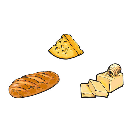 Vector sketch cartoon piece of porous cheese with holes, butter bar with slices, white bread loaf set. Isolated illustration on a white background. Healthy food dairy products, natural dieting concept Illusztráció