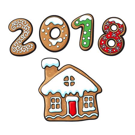 진저 브레드 크리스마스 하우스 쿠키 벡터 흰색 배경에 고립 된 그림. 새 해 2018 만화 달콤한 케이크의 배경에 구운 된 사탕 숫자. 전통적인 겨울 휴가
