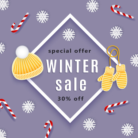 vector winter sale poster template. Knitted hat, gloves snowflakes, lollipops - winter christmas symbols Decorated flyer. Illustration on blue background. Banner advertising design Ilustrace